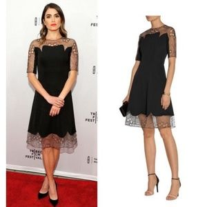 Lela Rose Black A-line Lace Trim Tulle Fit & Flare